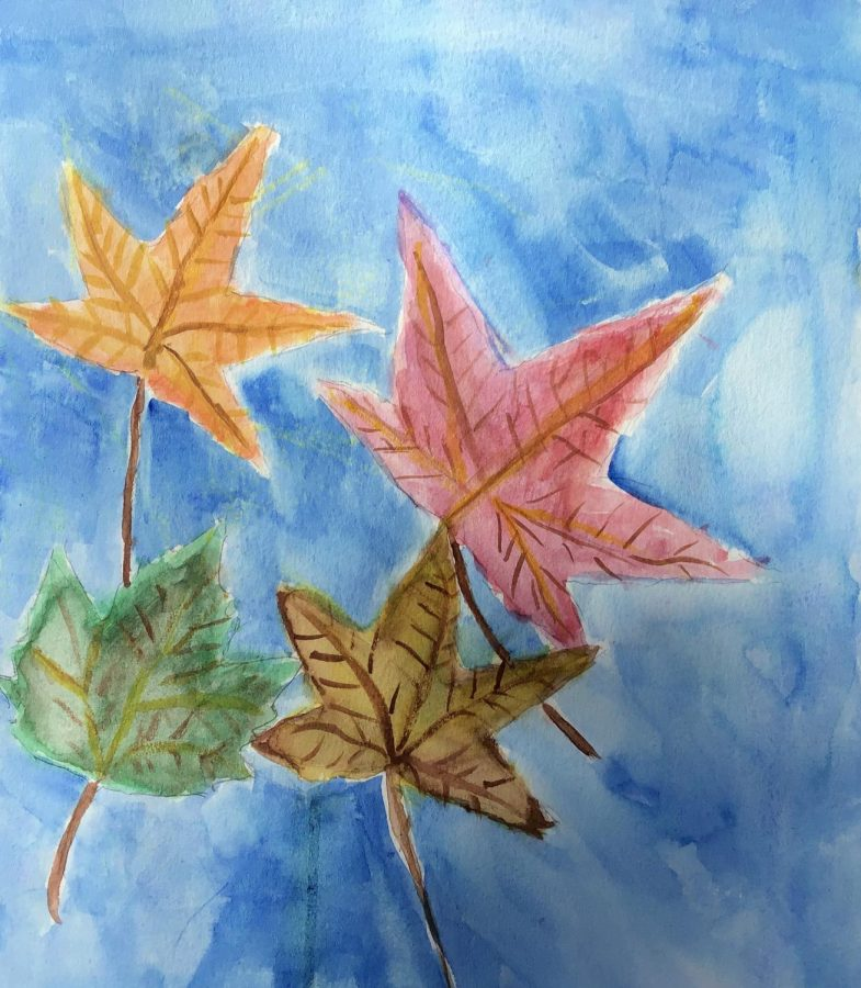 Water Color Leaves, Painting