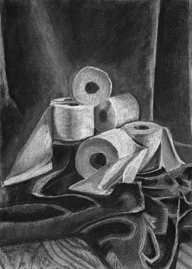 Toilet Paper Drawing, Charcoal Drawing
